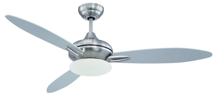 "Loris 52"" Ceiling Fan with Blades and Light in Stainless Steel"