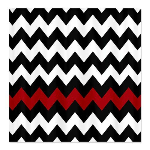 Red, Black and White chevron shower curtain for great bathroom decor. Love  the red - Best 25+ Chevron Shower Curtains Ideas On Pinterest Gray Chevron