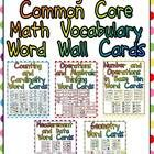 This packet has word cards for important vocabulary words in the Math Common Core State Standards for Kindergarten. This will allow you to create a...