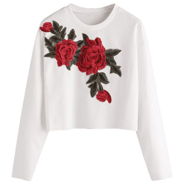 Floral Applique Ribbed Cropped T-shirt (£14) ❤ liked on Polyvore featuring tops, t-shirts, shirts, sweaters, ribbed tee, floral tops, crop top, white floral top and white ribbed t shirt
