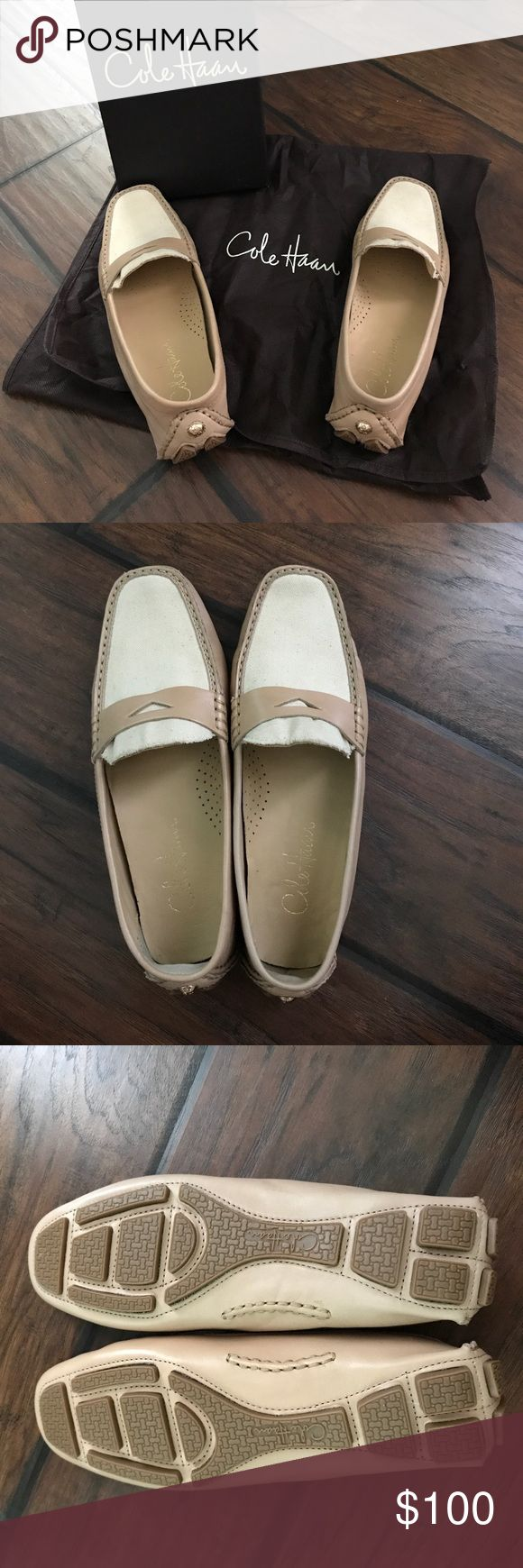 New Cole Haan Trillby Driver Loafers - Size 7.5 Brand New Women's Cole Haan Trillby Driver Penny Loafers • Size 7.5 • Rubber Outsole • Beige/Natural Color • Trillby is the perfect driving shoe for road, sidewalk and weekend • Will ship with shoe box and dust bag! Cole Haan Shoes Flats & Loafers