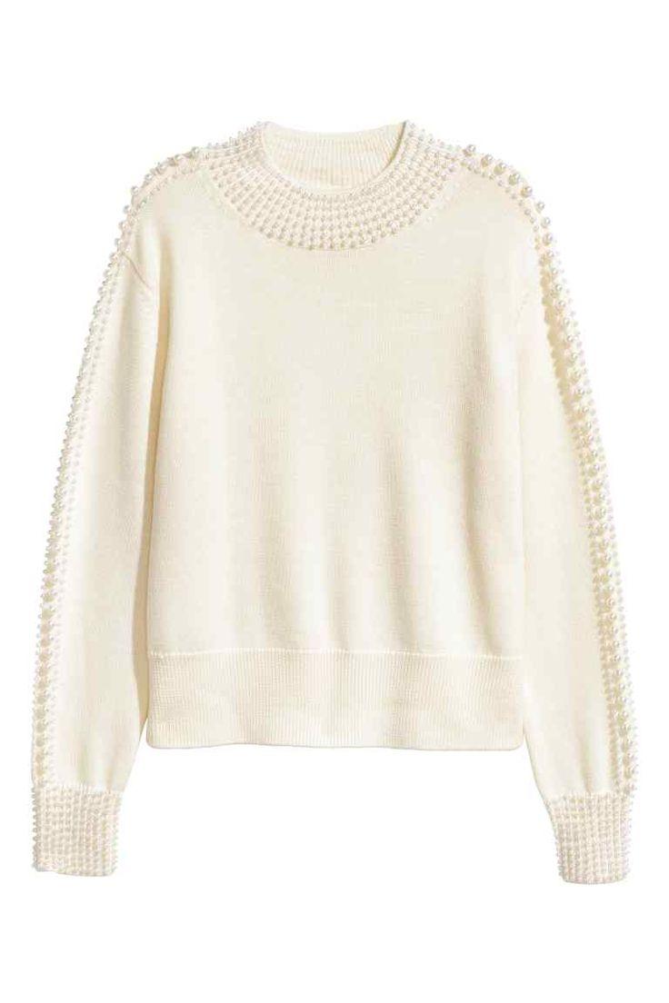 Wollpullover mit Perlen | H&M