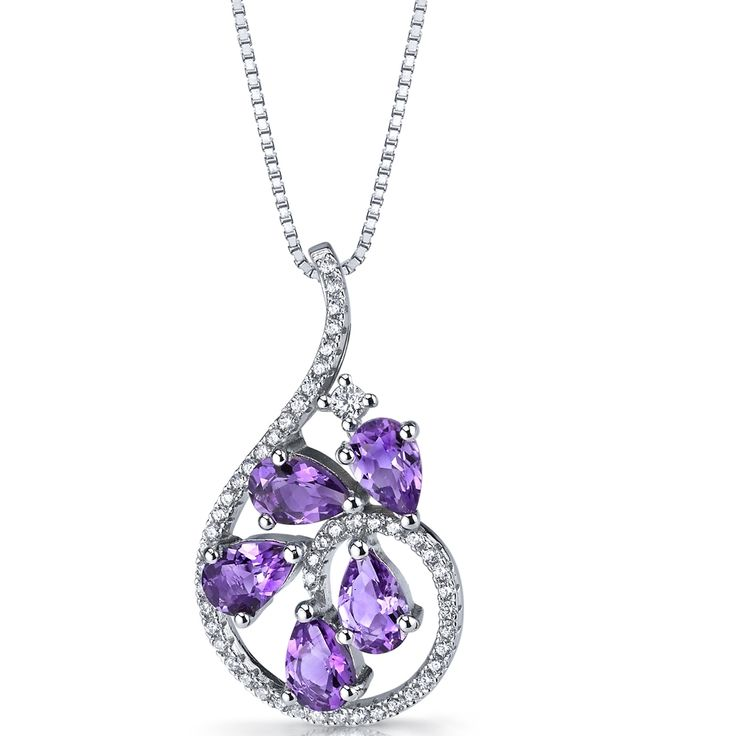MSRP: $199.99  Our Price: 119.99  Savings: 80.00        Item Number:SP11240    Availability: Usually Ships in 5 Business Days        PRODUCT DESCRIPTION:    This beautiful pendant for her features genuine pear shape Genuine Amethyst and brilliant machine-cut cubic zirconia in fine sterling silver. This beautiful pendant offers exceptional design and craftsmanship and is finished with a bright rhodium finish.        FEATURES:    Crafted in Fine Sterling Silver  (5) 6 x 4 mm Pear Shape…