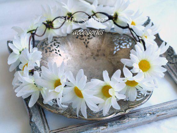 Flower Crown Halo Crown Daisy Chain Crown Daisy Headband Etsy Daisy Flower Crown Flower Crown Daisy Headband