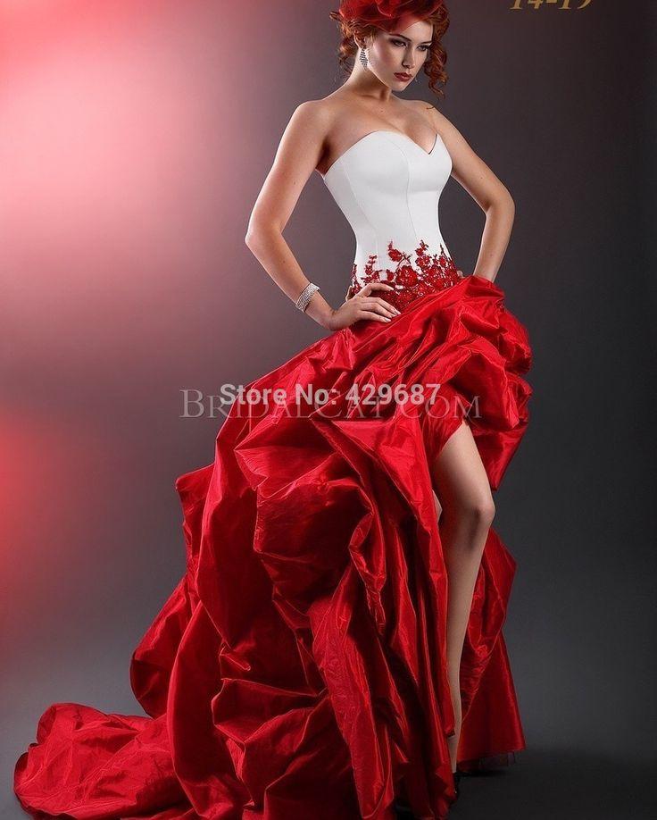 ... blanc et rouge robe de mariée UM717 dans Robes d…  Pinteres
