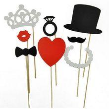 8 unids bricolaje barata Photo Booth atrezzo bigote labio anillo de la corona del corazón del palillo partido encantador de la boda decoración festivo y fiesta(China (Mainland))