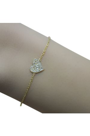 White Diamond Heart Gold Bracelet