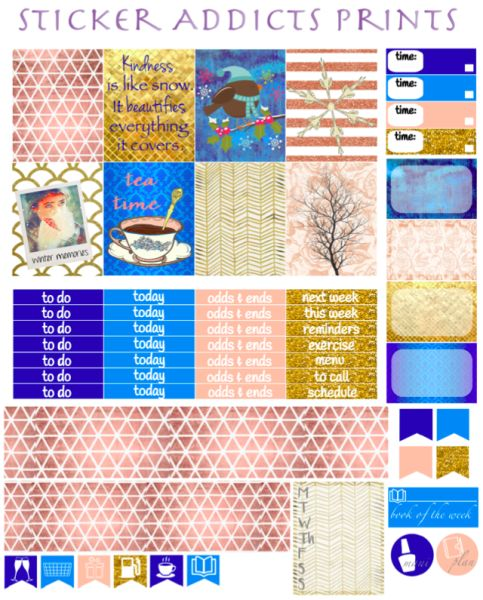 Free Printable Winter Wonderland Weekly Planner Stickers from Sticker Addicts Anonymous
