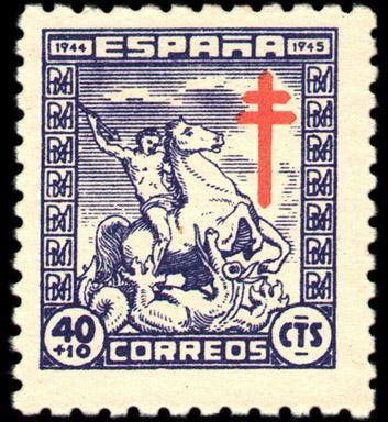Stamp: St George & the Dragon (Spain) (Pro-tuberculosis) Mi:ES 925,Yt:ES…