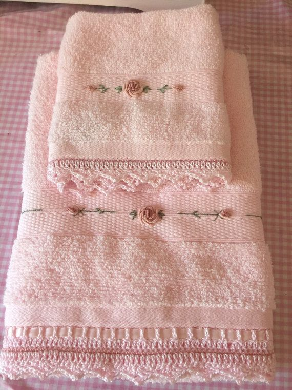 Pink hand towel and face washer set by Disgifts on Etsy
