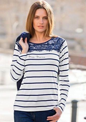 Tričko s čipkou a s prúžkami #ModinoSK #clothing #stripes #trendy #pruhy #pruzky #fashion #trend #styl #obleceni