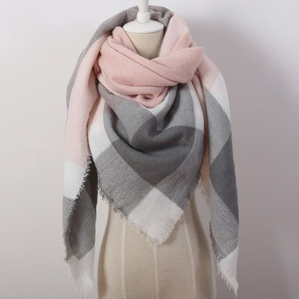 2016 Cashmere Triangle Pink Scarf