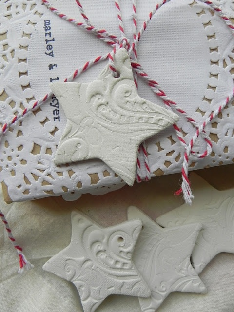 clay star tags want to make for the jars in pantry - sugar splenda and for the baskets.