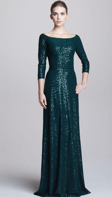 DAVID MEISTER Evening Gown Dress Dark Green Sequin 10 M 46