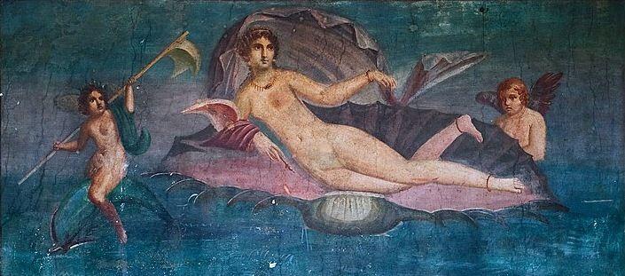"""""""Vénus anadyomène"""" - Fresque de Pompéi attribuée à Apelle de Cos."""