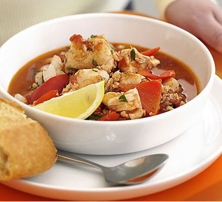 Spicy fish stew (make, cool & freeze without the coriander but only with fresh fish- not prefrozen).