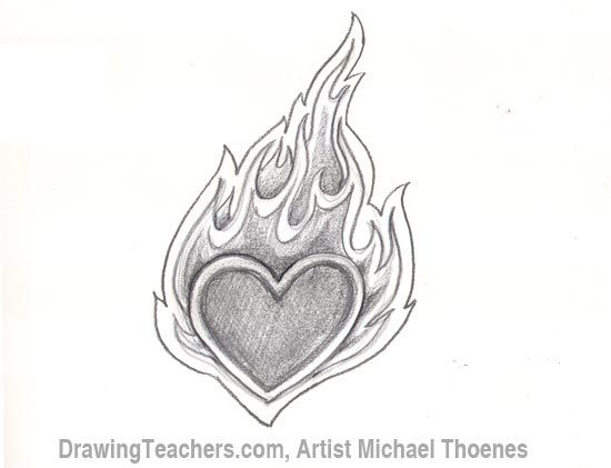 How to Draw a heart-with-Flames Step 6 | doodles ...