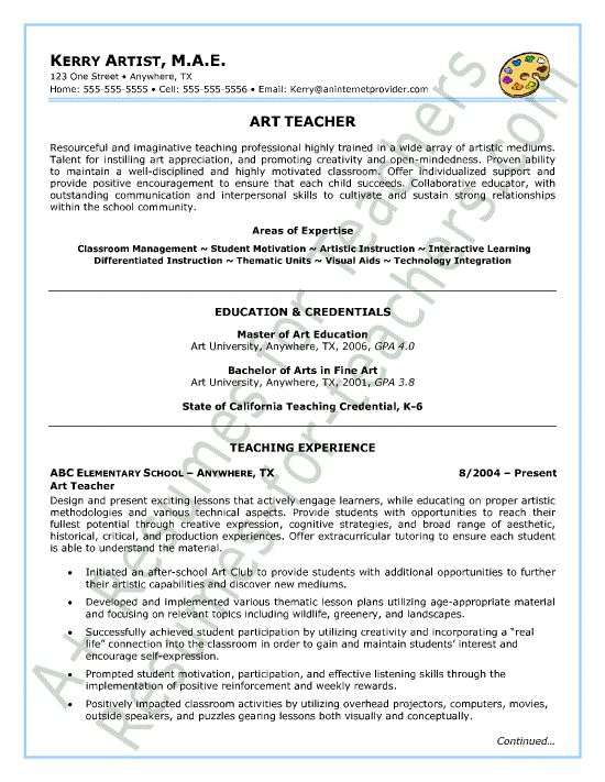 art teacher resume sample page1 teacher and principal resume samples pinterest teacher