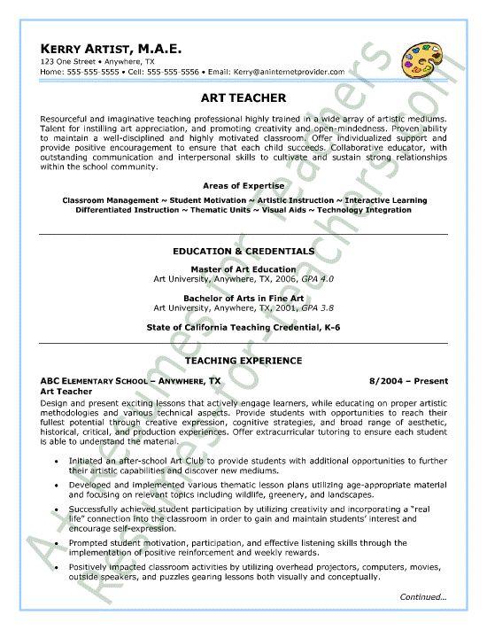 art teacher resume sample page1 teacher and principal