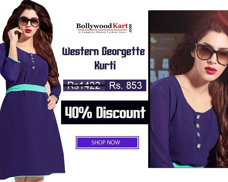 Add this Royal Blue Indo Western Georgette #Kurti To Your Wardrobe at an Astonishing Price!!  To Buy Visit: https://goo.gl/NqLxEl