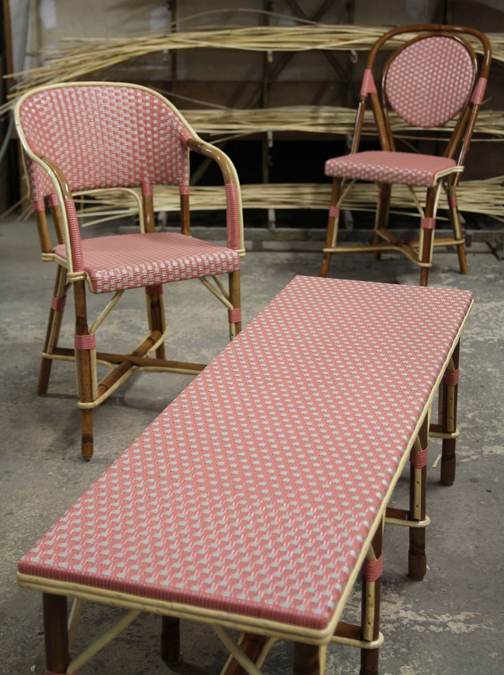 Three matching pieces in rose and grey (Montsouris armchair, parisienne chair and a flat bench)