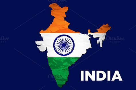 India flag map by Rommeo79 on @creativemarket