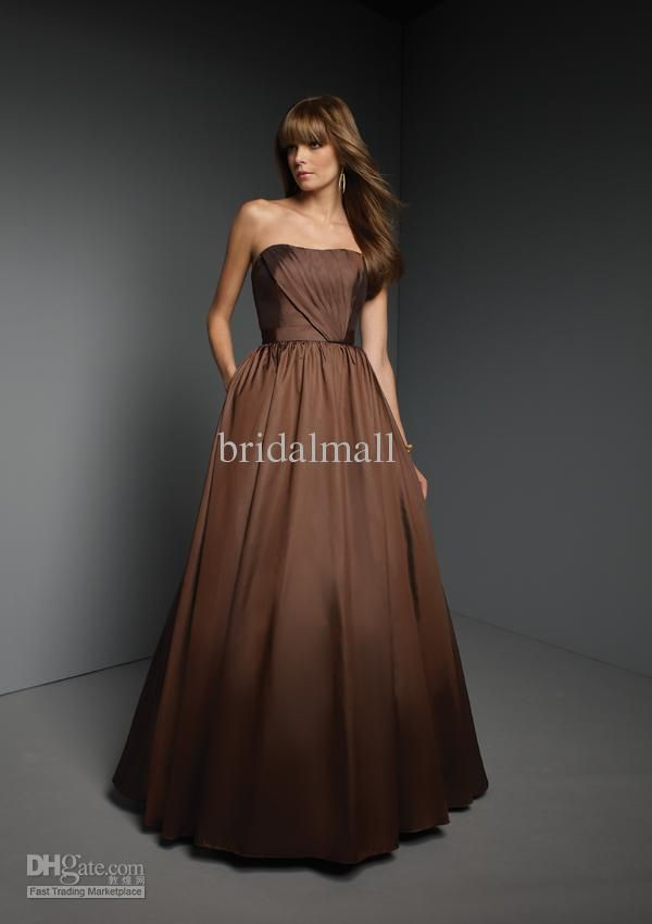 Chocolate brown bridesmaid dresses fall wedding for Brown dresses for a wedding