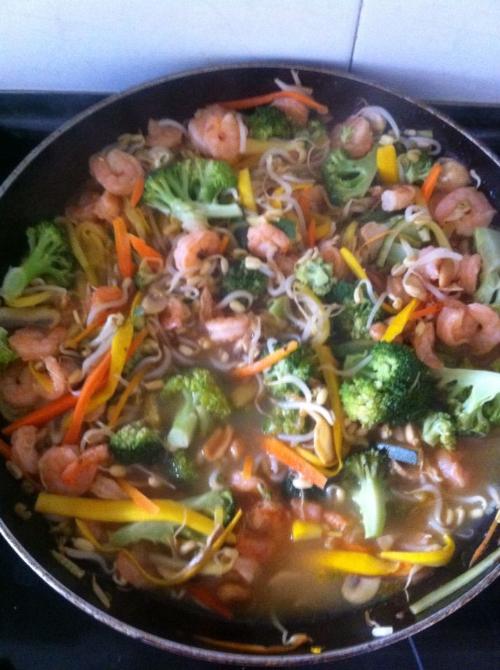 Verduras calientes con camarones!!!