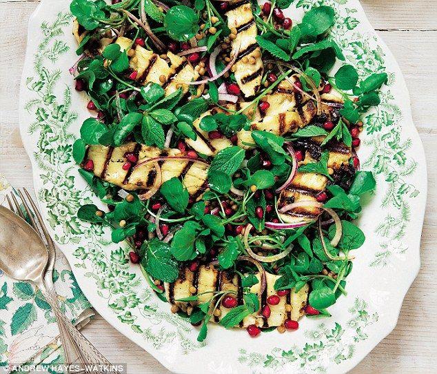 Davina McCall: Halloumi, watercress and pomegranate salad   Daily Mail Online