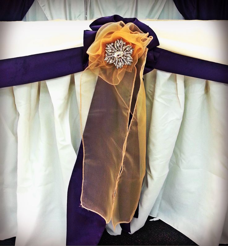 Purple satin and Gold organza flower cluster with broach. Head table décor.
