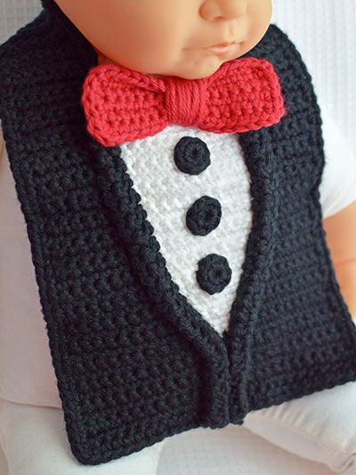 The perfect baby accessory for a holiday dinner, a wedding, New Year's celebration or just about anytime your little one is feeling pretty spiffy. It's an easy pattern to crochet if you can change colors mid-row. Includes written instructions only.
