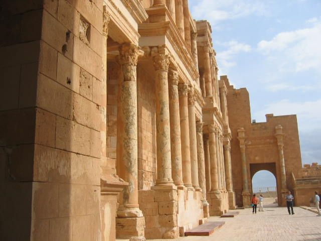 Theatre, Sabratha, Libya. UNESCO World Heritage Site. Sabratha's port was established about 500 BC as a Pheonician trading-post that served as a coastal outlet for the products of the African hinterland. It lies on the Mediterranean coast about 41 mi west of Tripoli.