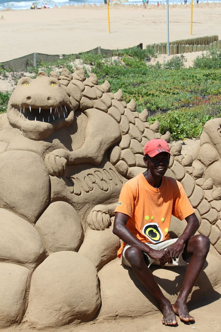 Sand sculptures on Durban's beachfront are income generating for locals. Often the sand sculptures are topical in nature 'save our rhinos' for instance.