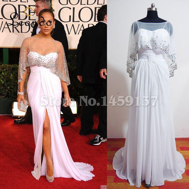 Дженифер Лопес Белое платье с блестками