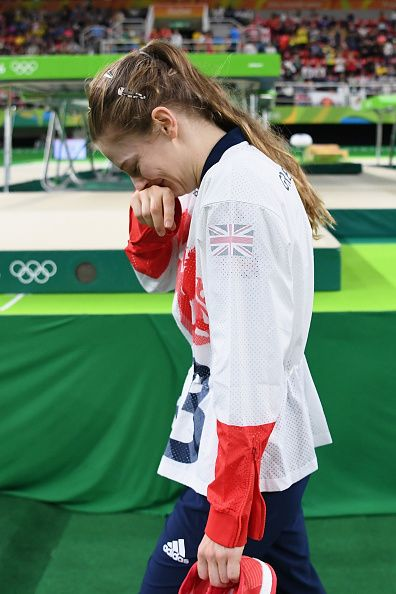 Silver medalist Bryony Page of Great Britain reacts after competing in the…
