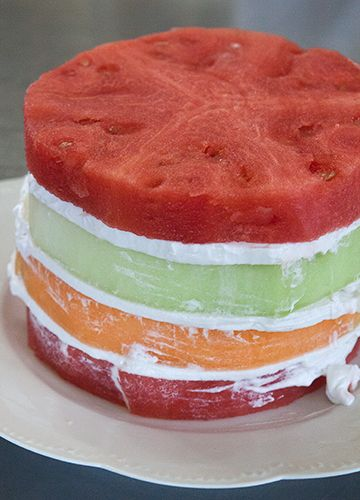 "PISTACHIO MELON CAKE WITH COCONUT FROSTING PREP TIME: 45 MINUTES, PLUS 2 HOURS CHILLING MAKES: 8 SERVINGS  2    ¾"" thick slices watermelon 1    ¾"" thick slice cantaloupe 1    ¾"" thick slice honeydew 4    13.5 oz cans coconut milk, refrigerated overnight"