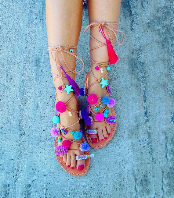 Tie Up Gladiator Sandals 'Blueberry Daiquiri', Pom Pom Sandals, Summer sandals,  Available at: www.etsy.com/shop/ElizabethShoes