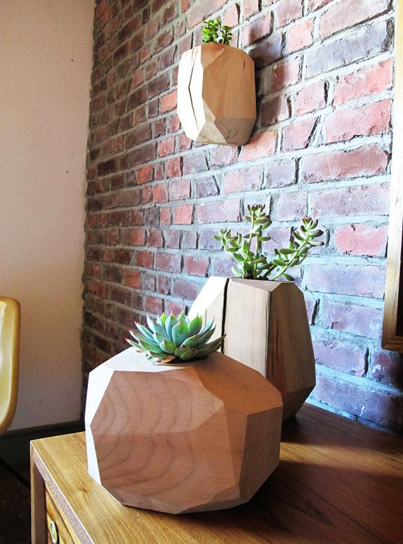 Multifaceted wood planter LARGE Wallmount by onefortythree on Etsy, $45.00