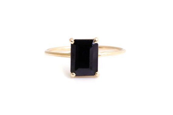 Emerald Cut Black Onyx Ring 14k Yellow Gold Basket by YUNJIbijoux