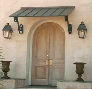 copper awning, lanterns
