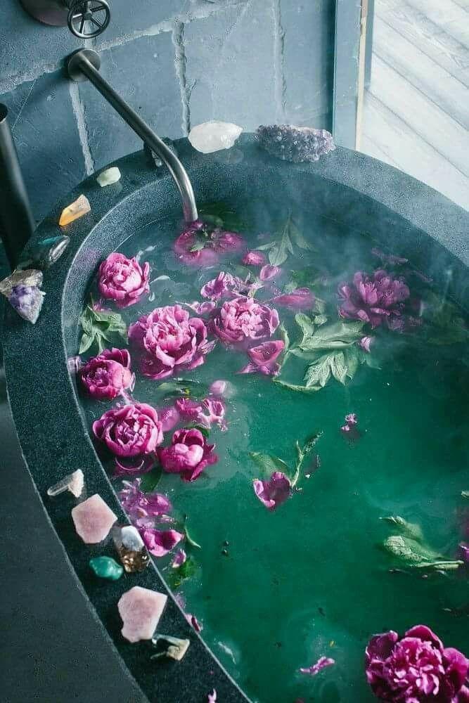 relaxing bath. bohemian mood.