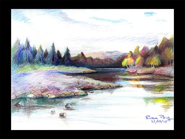 Color pencil sketches landscape colored pencil landscape by