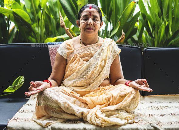 A Meditating Indian Woman Indian Women Women Woman Yoga