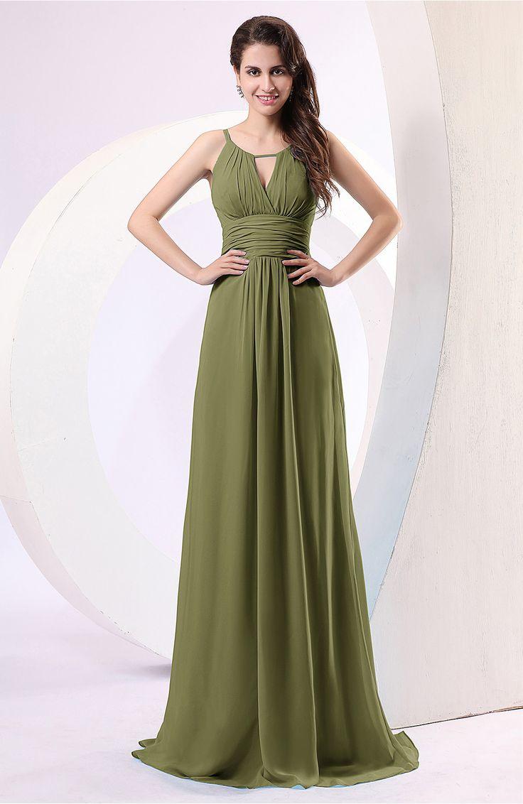 Olive Green Evening Dress - Plain Column Scoop Zipper Chiffon Ruching