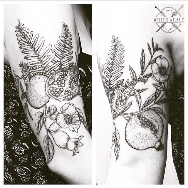 Half sleeve of pomegranates, blossoms, and ferns I worked on earlier this year. #tbt #tattoo #tattoos #pomegranate #fern #ferns #ferntattoo #pomegranatetattoo #linework #pointillism #dotwork #blackwork #blackworkers #darkart #darkartists #pointillist #art #tatuaje #tatouage