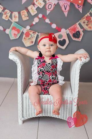 Girls Valentines Day Romper, Baby Girls First Valentines Day Outfit, Girls Rompers, Valentines Romper