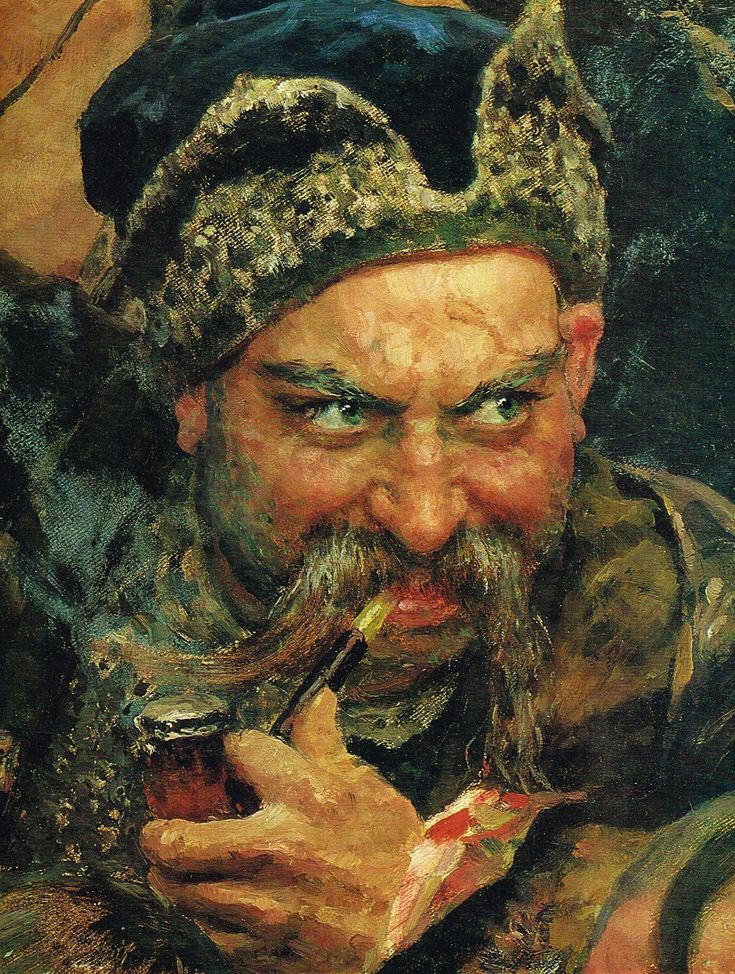 Ilya Repin, a detail from The Zaporozhian Cossacks write a letter to the Sultan of Turkey