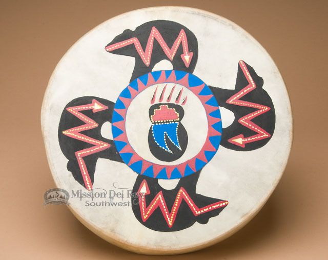 """Painted One Sided Hand Drum 16""""- Four Bears - Mission Del Rey Southwest"""