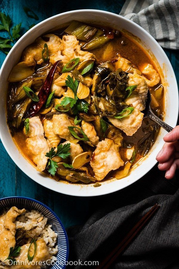 Suan Cai Yu (酸菜鱼, Sichuan Fish with Pickled Mustard Greens) - The fish is sliced…