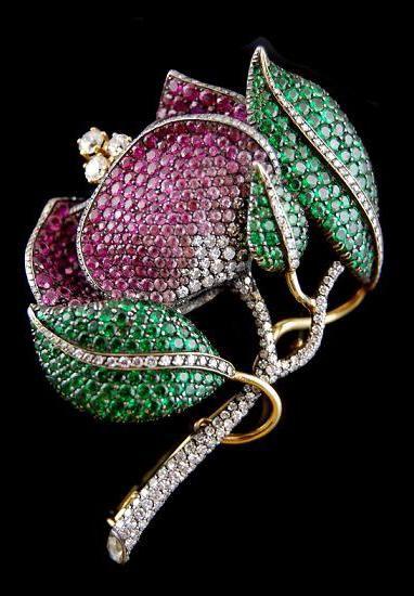 - Yafa Jewelry emerald ruby Diamond flower brooch